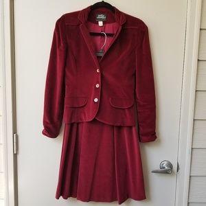 Vintage Patty Woodard Velvet Pleated Skirt Suit 6